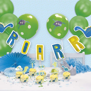 Roar Dinosaur Party Decorations Kit - Balloons Bunting Cake Toppers