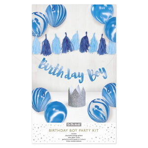 Birthday Boy Party Decorations Pack - Balloons, Bunting and Crowns
