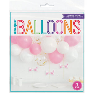 Pink Confetti Balloon Arch Kit with Gingham Bows