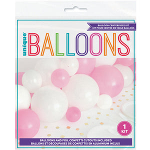 Pink and White Balloon Centrepiece Kit with Silver Foil Confetti Cut Outs