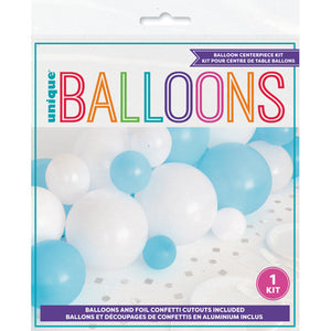 Blue and White Balloon Centrepiece Kit with Silver Foil Confetti Cut Outs
