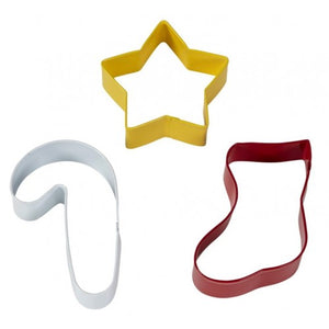Wilton Christmas Holiday Cookie Cutter Set - Star - Stocking - Candy Cane
