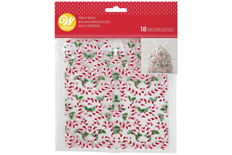 Wilton Christmas Drawstring Cello Treat Bags - 18 pack