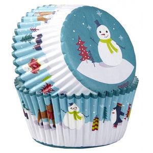 Wilton Christmas Snowman Baking Cupcake Cases Cups - 75 pack