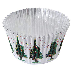 White Christmas Tree FOIL LINED Cake Cases - 30 pack