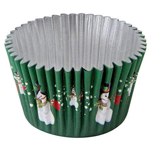 Green Snowman FOIL LINED Cake Cases - 30 pack