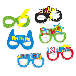 Retro Superhero Comic Book Sketch Themed Photo Prop Glasses