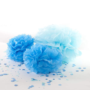 Pack of 3 Blue Pom Poms