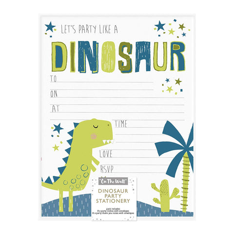 Roar Dinosaur Party Stationery - Invites and Thank you cards