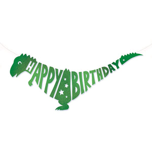 Roar Dinosaur Giant Green Happy Birthday T-Rex Dinosaur Garland - 1.5 metre