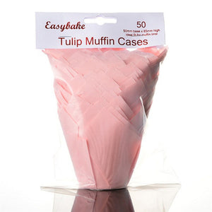 Pink Tulip Cupcake / Muffin Wraps - Pack of 50
