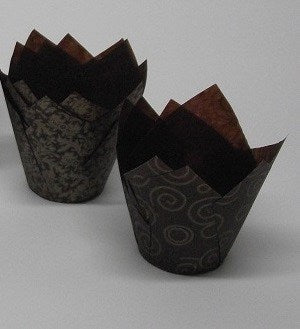 Chocolate Brown & Gold Swirl Tulip Cupcake / Muffin Wraps - Pack of 50