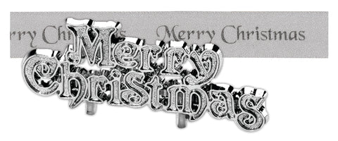 Silver Merry Christmas Satin Ribbon & Motto Set - 25mm x 1m