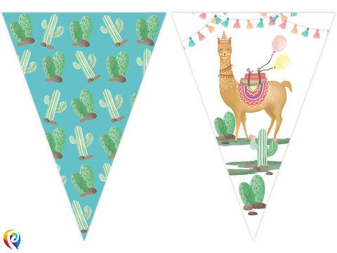 Llama Party Flag Banner - 2.3m Plastic Banner