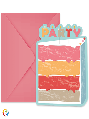 Birthday Cake Party Invitations & Envelopes