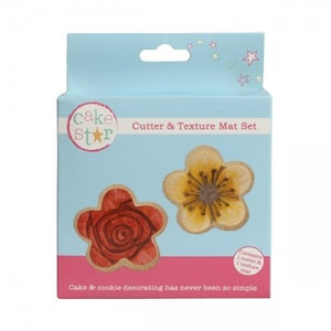 Cake Star Cutter & Texture Mat Set - Flowers