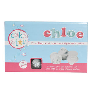Cake Star Push Easy Cutters - Mini Lowercase Alphabet Set - 26 Piece