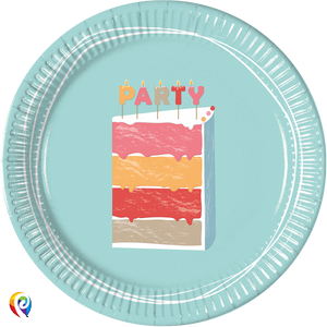 Birthday Cake Party Paper Round Plates - 23cm