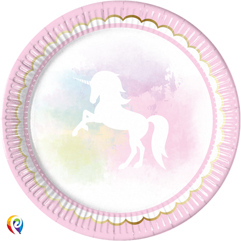 Believe in Unicorns Party Paper Round Plates - 23cm