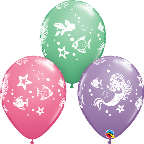 11 INCH MERMAID ASSORTMENT LATEX BALLOONS (6)