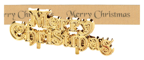 Gold Merry Christmas Satin Ribbon & Motto Set - 25mm x 1m