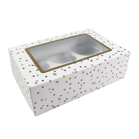 Metallic Spot Box for 6 Cup cakes or 12 Fairy cakes