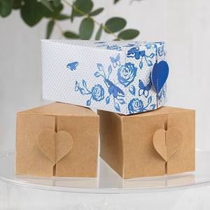 House of Cake Heart China Blue Cake Slice Box