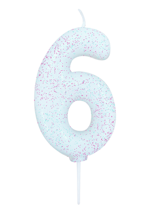 Age 6 Glitter Numeral Moulded Pick Candle White Iridescent
