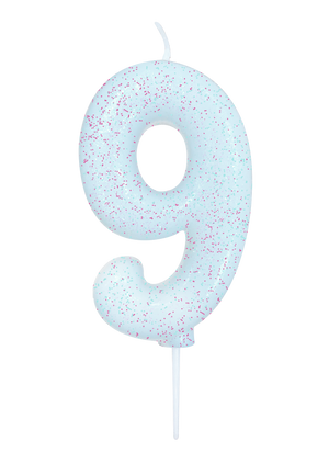 Age 9 Glitter Numeral Moulded Pick Candle White Iridescent