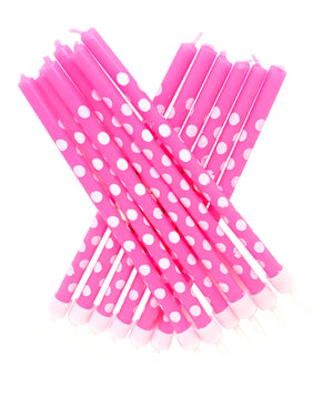 Polka Dot Tall Candles Pink with Holders