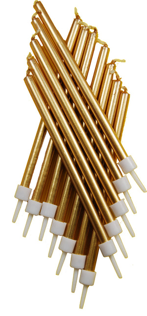 Tall Candles Metallic Gold with Holders