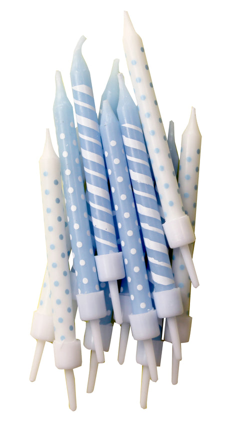 Polka-Dot & Candy-Cane Stripe Candles Light Blue & White with Holders