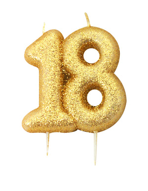 Age 18 Glitter Numeral Moulded Pick Candle Gold