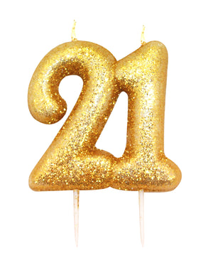 Age 21 Glitter Numeral Moulded Pick Candle Gold