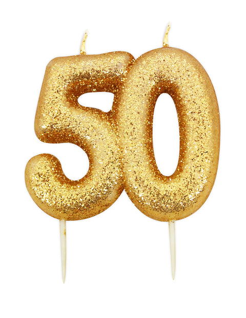 Age 50 Glitter Numeral Moulded Pick Candle Gold