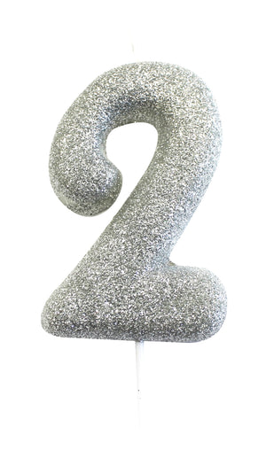 Age 2 Glitter Numeral Moulded Pick Candle Silver