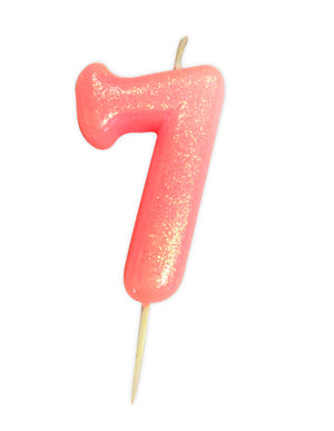 Age 7 Glitter Numeral Moulded Pick Candle Pink
