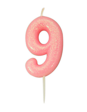 Age 9 Glitter Numeral Moulded Pick Candle Pink