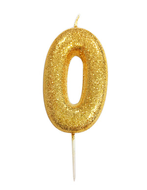 Age 0 Glitter Numeral Moulded Pick Candle Gold