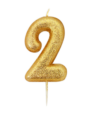 Age 2 Glitter Numeral Moulded Pick Candle Gold