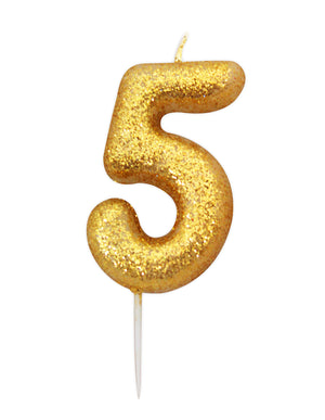 Age 5 Glitter Numeral Moulded Pick Candle Gold