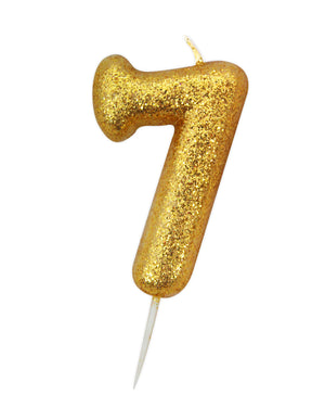 Age 7 Glitter Numeral Moulded Pick Candle Gold