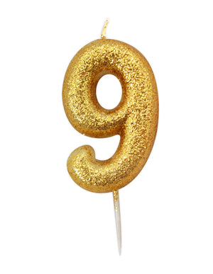 Age 9 Glitter Numeral Moulded Pick Candle Gold