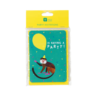 Talking Tables Party Animals Invitations A6 8Pk, Multicolour