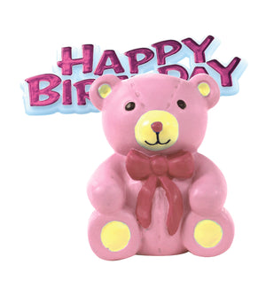 Teddy Bear Resin Cake Topper & Pink Happy Birthday Motto