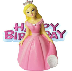 Princess Resin Cake Topper & Pink Happy Birthday Motto