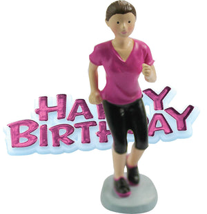 Runner Resin Cake Topper & Pink Happy Birthday Motto