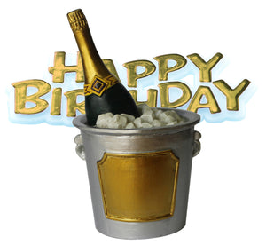 Champers Ice Bucket Resin Cake Topper & Gold Happy Birthday Motto