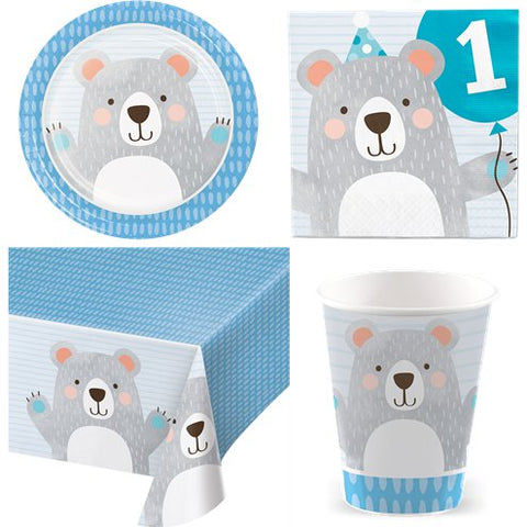 Birthday Bear 1st Birthday Party Pack - Value Kit for 8