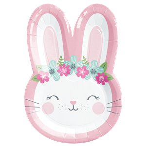 Birthday Bunny Shaped Plates  - 8 Pk